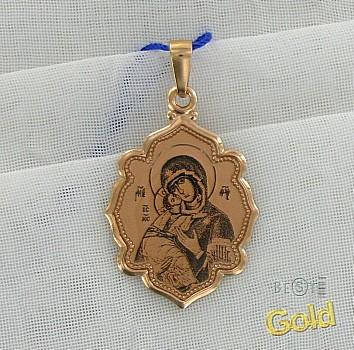 Золотая подвеска. Икона Божьей матери
