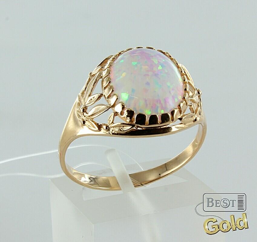 золотое золотое кольцо с опалом