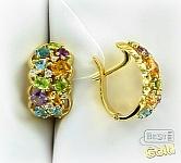 Золотые серьги с самоцветами
