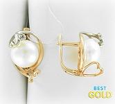 Золотые серьги с жемчугом и фианитами