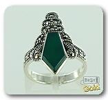 Серебряное кольцо с хризопразом и марказитами