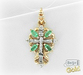 Золотой крест с изумрудами и бриллиантовой крошкой