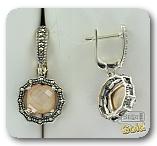 Серебряные серьги с перламутром и марказитами
