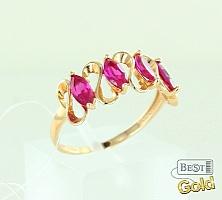 Золотое кольцо с синтетическими рубинами