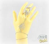 Серебряный слейв-браслет с цирконами