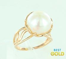 обручальное кольцо с жемчугом
