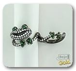 """Двойное серебряное кольцо с цирконами """"Лягушка"""""""