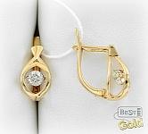 Золотые серьги с танцующими бриллиантами