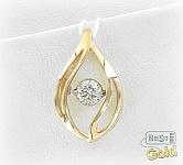 подвеска из золота с танцующим бриллиантом