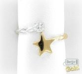 Золотое кольцо для ног с фианитом