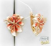 золотые серьги лилии