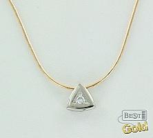 Золотое колье с бриллиантом в платине