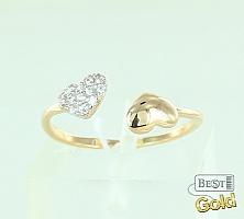 """Золотое кольцо с фианитами """"Сердечки"""