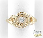Золотое кольцо с танцующим кристаллом Сваровски