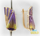 Золотые серьги с аметрином и фианитами