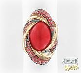 золотое кольцо с кораллом