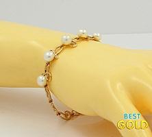 Золотой браслет с жемчугом и фианитами