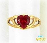Золотое кольцо с рубином в форме сердца