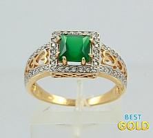 Кольцо из золота с зеленым ониксом и фианитами