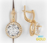 Золотые серьги с горным хрусталем