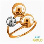 кольцо с шариками из золота